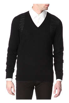 ALEXANDER MCQUEEN Pointelle-detail wool jumper
