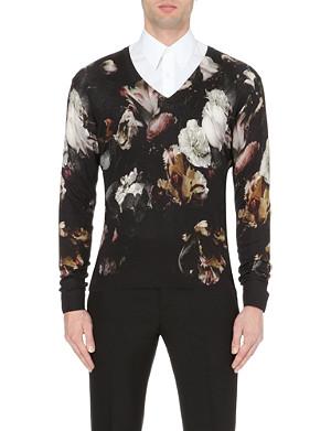 ALEXANDER MCQUEEN Floral silk-blend jumper