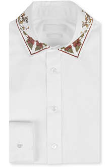 ALEXANDER MCQUEEN Floral silk-collar single-cuff shirt