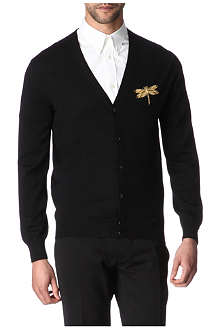 ALEXANDER MCQUEEN Dragonfly-embroidered cardigan