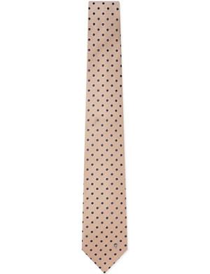 ALEXANDER MCQUEEN Beige tie with polkadots