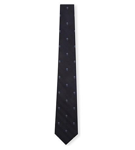 ALEXANDER MCQUEEN Prince of Wales Skull silk tie (Navy