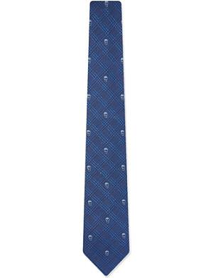 ALEXANDER MCQUEEN Blue prince wales skulls tie