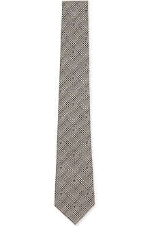 ALEXANDER MCQUEEN Checked embroidered-skull tie