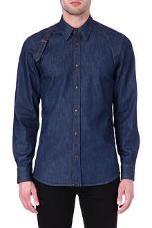 ALEXANDER MCQUEEN Harness slim single-cuff denim shirt