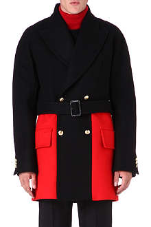 ALEXANDER MCQUEEN Colourblock pea coat