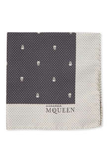 ALEXANDER MCQUEEN Skull and polka-dot silk pocket square