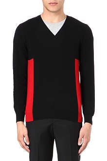 ALEXANDER MCQUEEN Side panel V-neck knit jumper