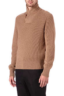 ALEXANDER MCQUEEN Ribbed shawl-neck jumper