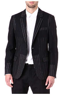 ALEXANDER MCQUEEN Patchwork pinstripe two-button blazer