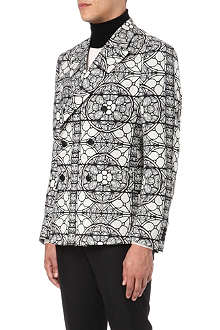ALEXANDER MCQUEEN Stainglass print double-breasted jacket