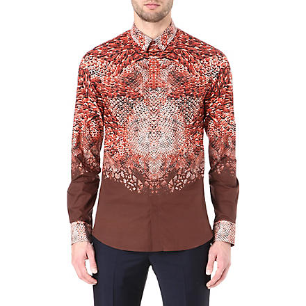 ALEXANDER MCQUEEN Python-print slim-fit shirt (Brown