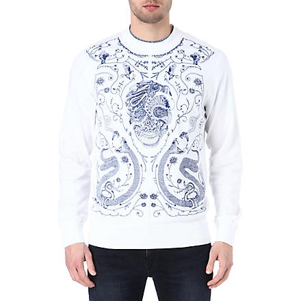 ALEXANDER MCQUEEN Embroidered-skull sweatshirt (White
