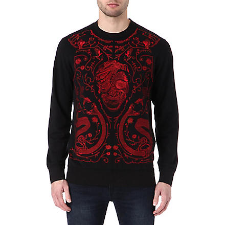 ALEXANDER MCQUEEN Embroidered-skull sweatshirt (Black