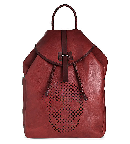 ALEXANDER MCQUEEN Perforated skull leather backpack (Red