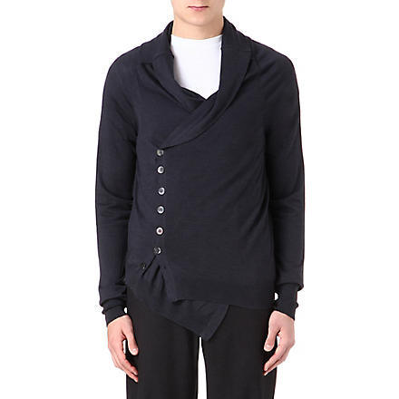 ALEXANDER MCQUEEN Wool and silk-blend cardigan (Grey/black