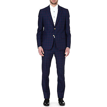 ALEXANDER MCQUEEN Checked two-piece wool suit (Blue
