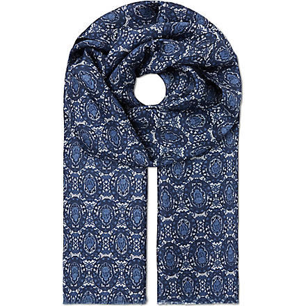 ALEXANDER MCQUEEN Mini oval scarf (White/blue