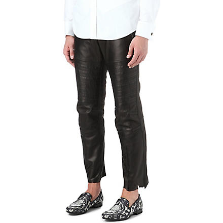 ALEXANDER MCQUEEN Leather biker trousers (Black