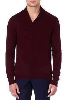 ALEXANDER MCQUEEN Shawl-collar cashmere jumper