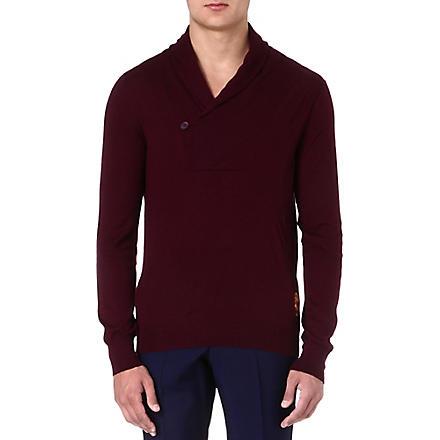 ALEXANDER MCQUEEN Shawl-collar cashmere jumper (Burgandy