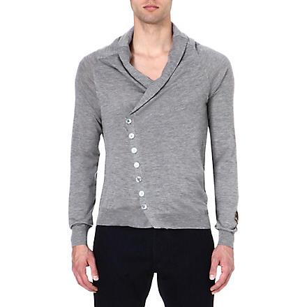 ALEXANDER MCQUEEN Skull-detail cashmere cardigan (Grey