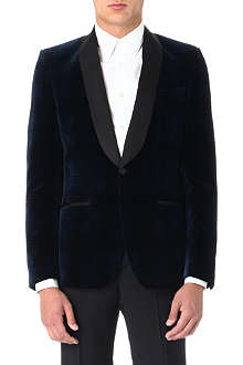 ALEXANDER MCQUEEN Shawl-lapel checked velvet jacket