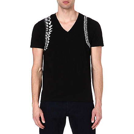 ALEXANDER MCQUEEN Spine Harness v-neck t-shirt (Black