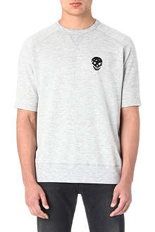 ALEXANDER MCQUEEN Beaded-skull short-sleeved sweatshirt