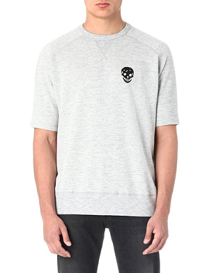 ALEXANDER MCQUEEN Beaded-skull short-sleeved sweatshirt