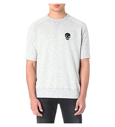 ALEXANDER MCQUEEN Beaded-skull short-sleeved sweatshirt (Grey