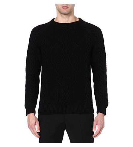 ALEXANDER MCQUEEN Skull cable-knit jumper (Black