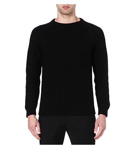 ALEXANDER MCQUEEN Skull cable-knit jumper (Black
