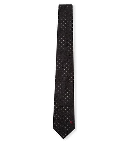 ALEXANDER MCQUEEN Polka-dot skull-embroidered silk tie (Black