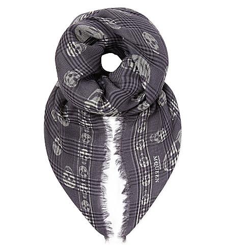 ALEXANDER MCQUEEN Checked skull scarf (Grey