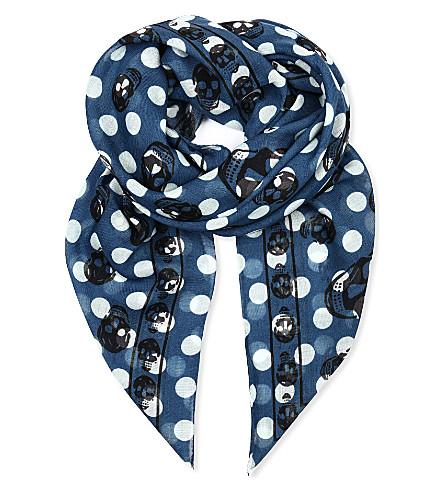 ALEXANDER MCQUEEN Polka skull silk scarf (Blue