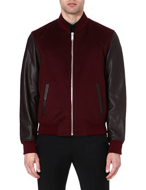 ALEXANDER MCQUEEN Leather-sleeve bomber jacket