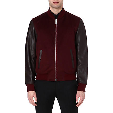 ALEXANDER MCQUEEN Leather-sleeve bomber jacket (Burgundy