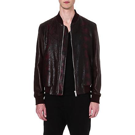 ALEXANDER MCQUEEN Python bomber jacket (Burgundy/brown