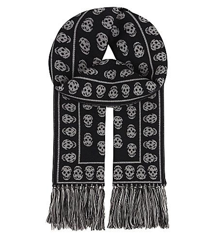 ALEXANDER MCQUEEN Tasseled border wool scarf (Black/ivory
