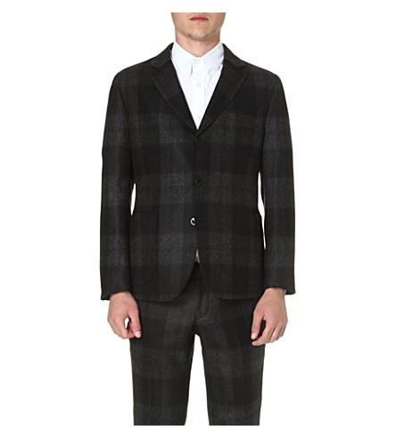 ALEXANDER MCQUEEN Plaid wool blazer (Black
