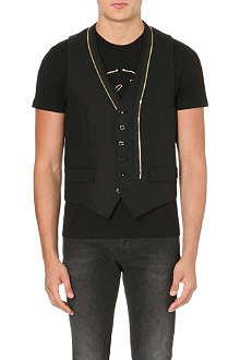 ALEXANDER MCQUEEN Gold zip wool waistcoat
