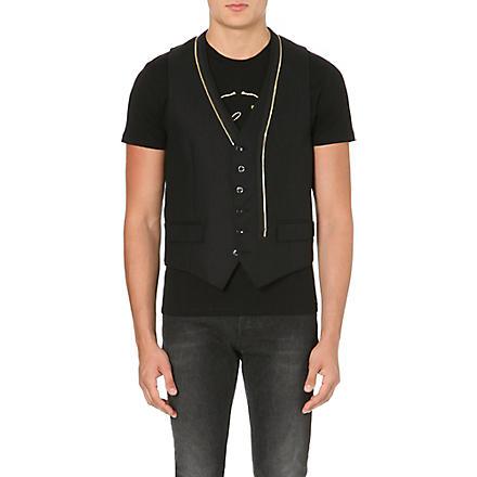 ALEXANDER MCQUEEN Gold zip wool waistcoat (Black