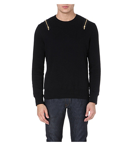 ALEXANDER MCQUEEN Zip-detail cotton-jersey sweatshirt (Black