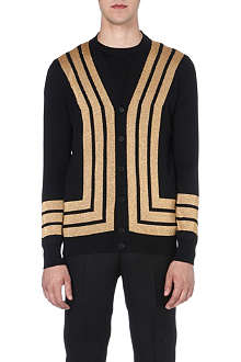 ALEXANDER MCQUEEN Gold-striped wool cardigan