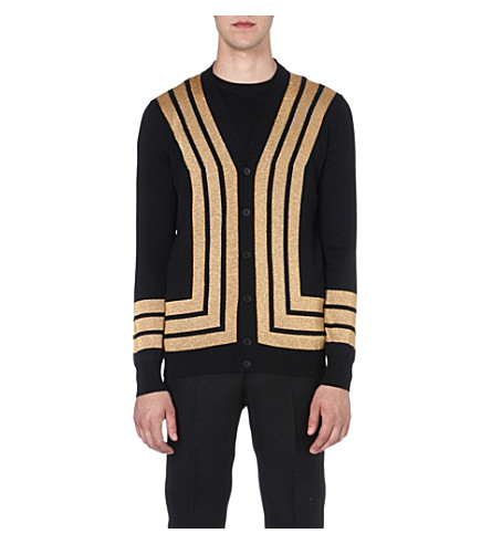 ALEXANDER MCQUEEN Gold-striped wool cardigan (Black/gold