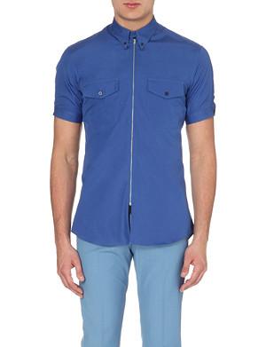 ALEXANDER MCQUEEN Short-sleeved zipped cotton shirt