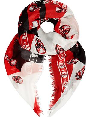 ALEXANDER MCQUEEN Swirl and skull scarf