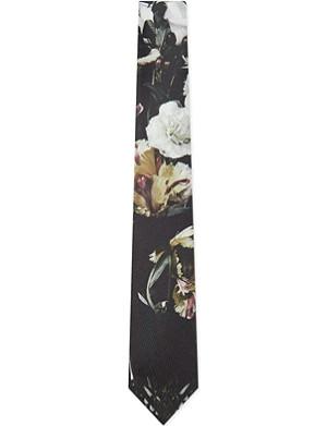 ALEXANDER MCQUEEN Black floral tie