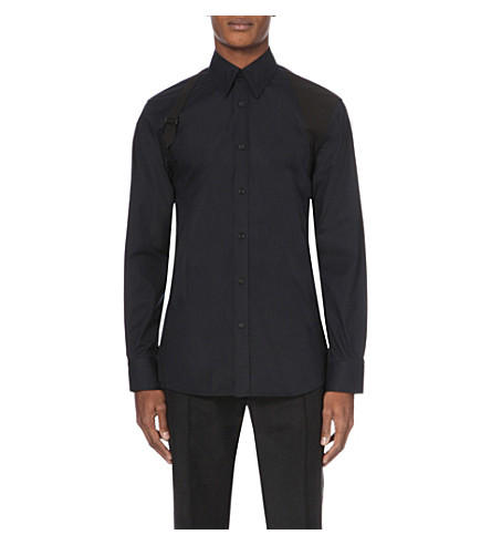 ALEXANDER MCQUEEN Harness-detail stretch-cotton shirt (Black